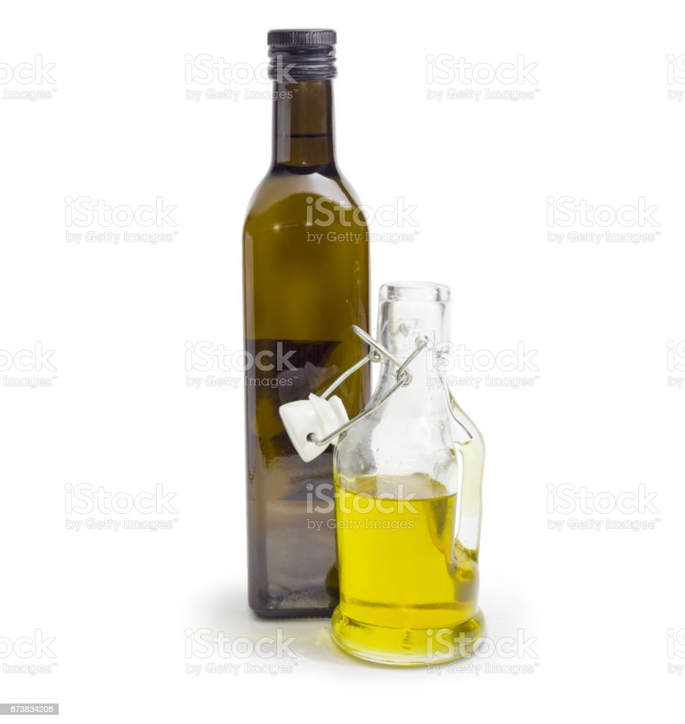 Two different bottle of olive oil on a white background stock photo