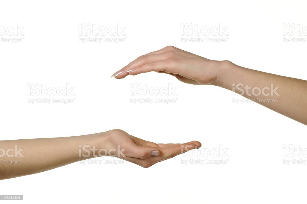 Two different female hands,  above and from below. royalty-free stock photo
