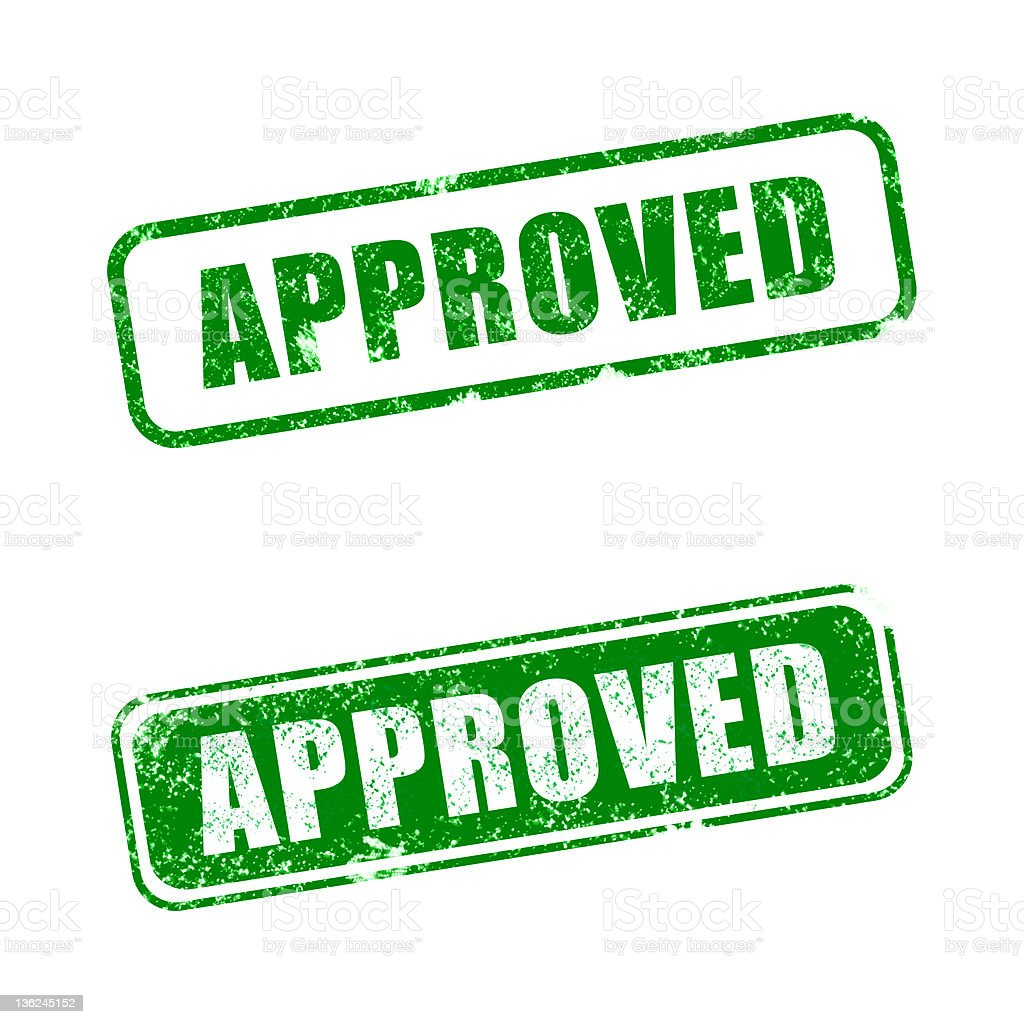 Two different green approved signs on a white background stock photo