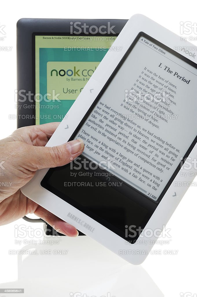 Two different models of Nook e-reader stock photo