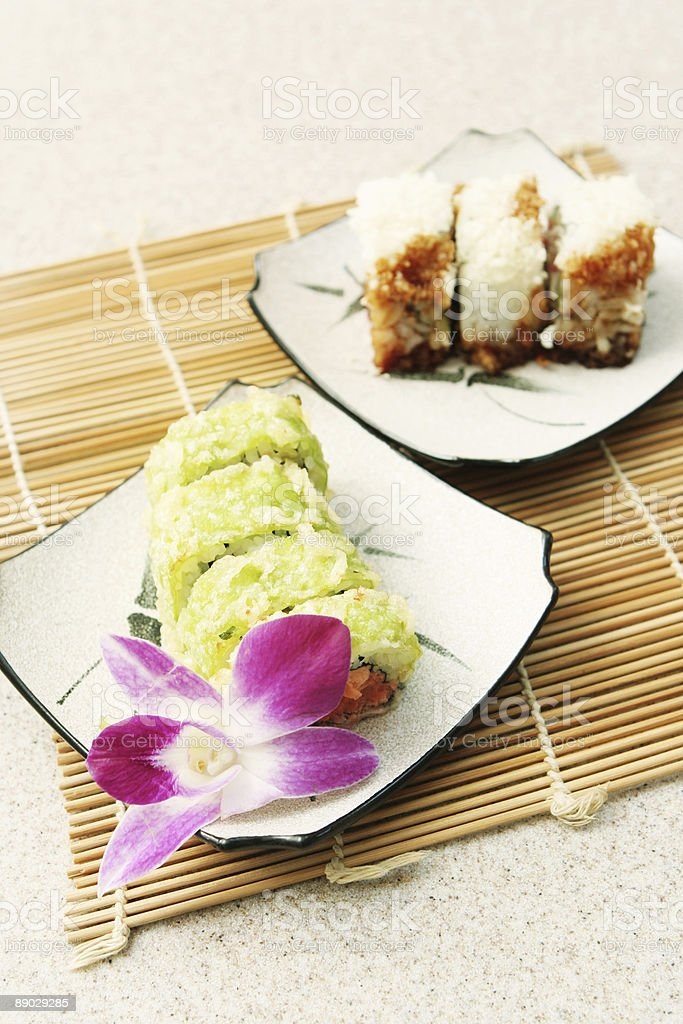 Two Different Plates of Sushi royalty-free stock photo