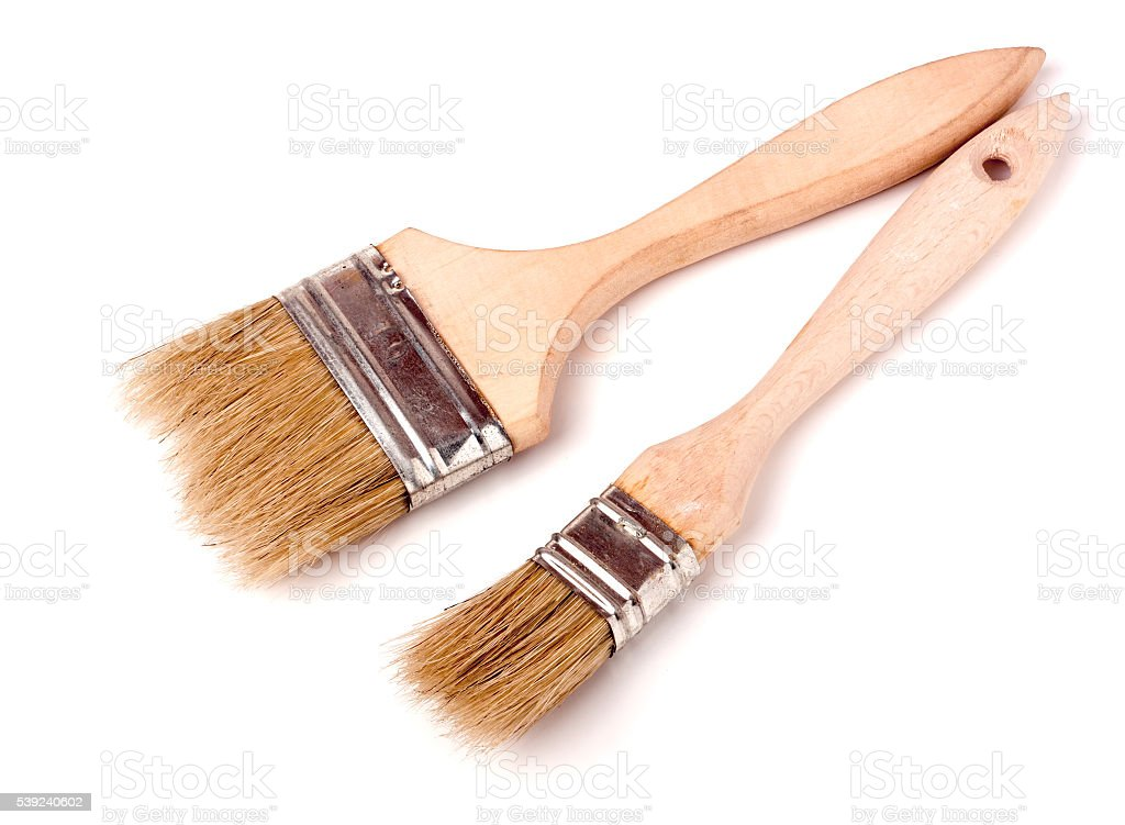 two different size paint brushes isolated on white background royalty-free stock photo