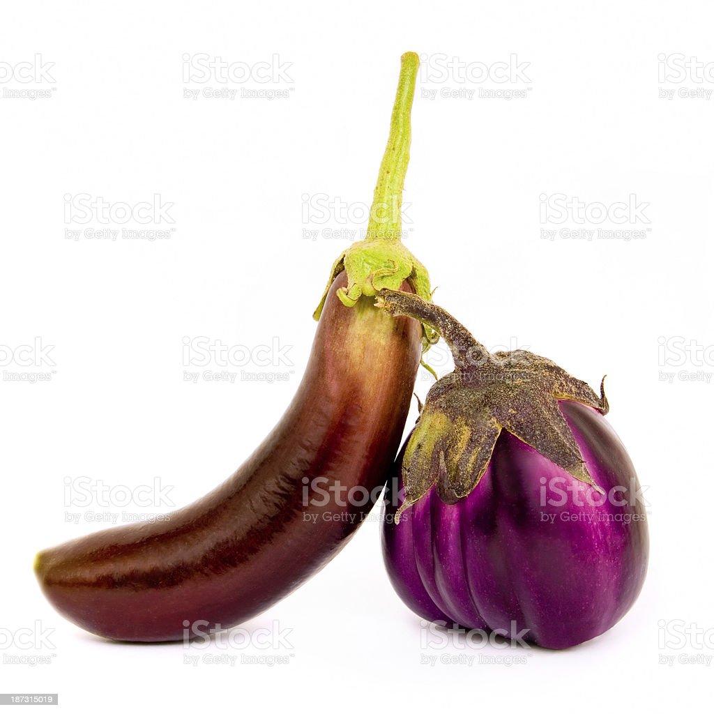 Two different species of eggplant stock photo
