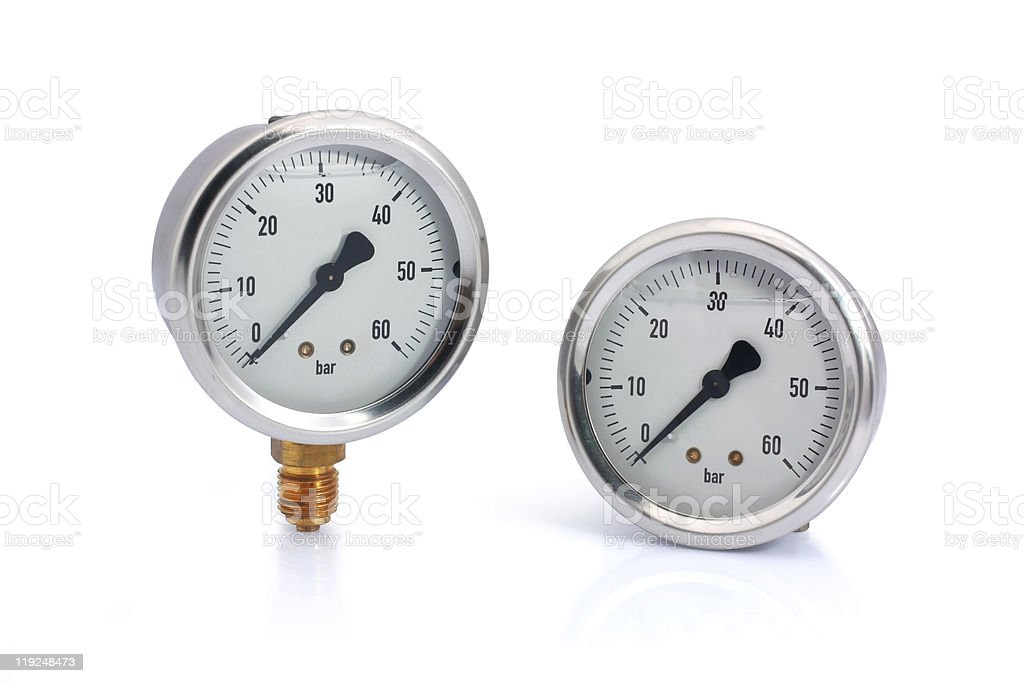 Two different type manometer isolated stock photo