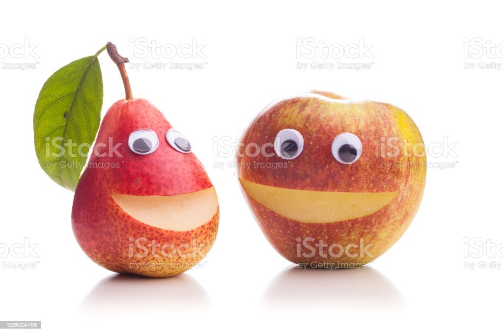 Two dissimilar brothers - Apple and Pear stock photo