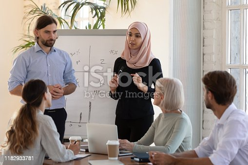 1031235468 istock photo Two diverse business speakers give whiteboard presentation at conference training 1182933781