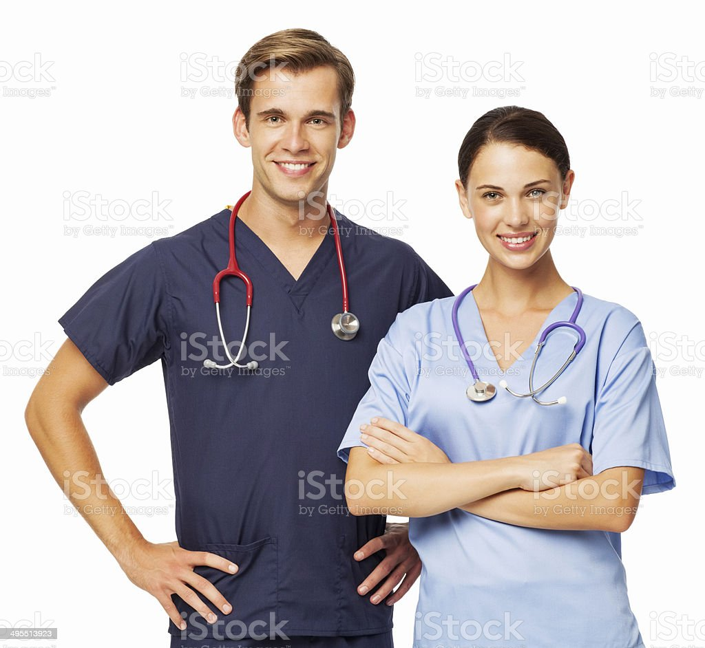 Two Doctors With Stethoscopes Against White Background royalty-free stock photo