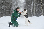 A man with two cute middle size dogs at walk outdoors in winter. Snow is falling