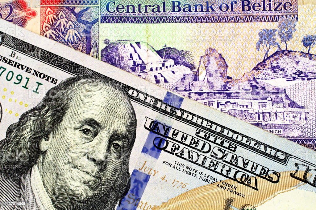 A Two Dollar Bill From Belize With An American One Hundred