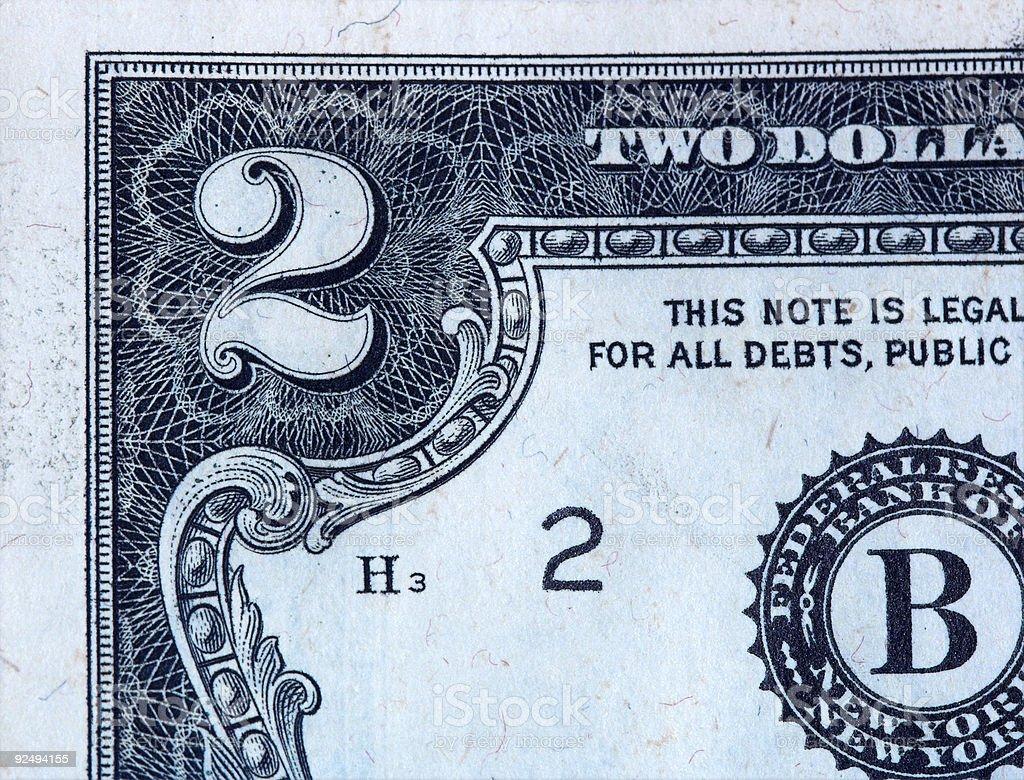 Two Dollar Bill royalty-free stock photo