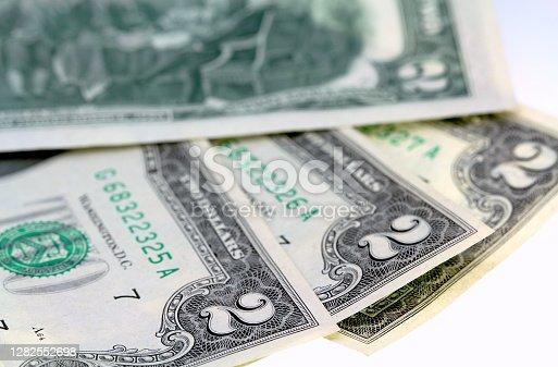 istock USA two dollar bills new 1282552698