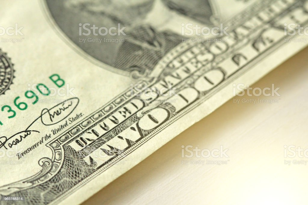 Two Dollar With One Note. 2 Dollars - Royalty-free American Culture Stock Photo