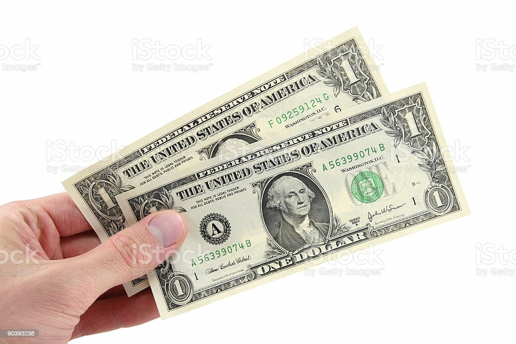 Two Dollars in Hand royalty-free stock photo