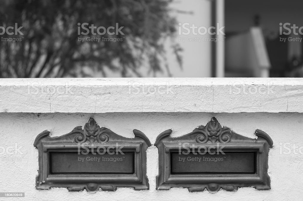 Two domestic mailboxes royalty-free stock photo