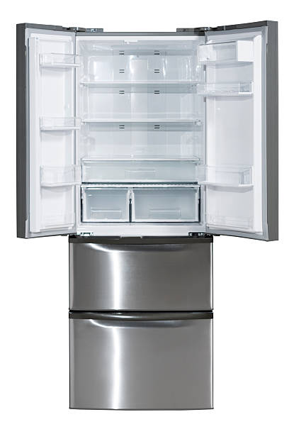 A two door stainless steel refrigerator stock photo