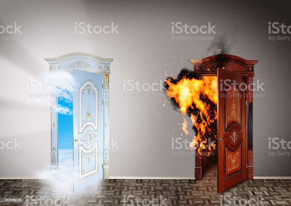Two doors to heaven and hell. royalty-free stock photo