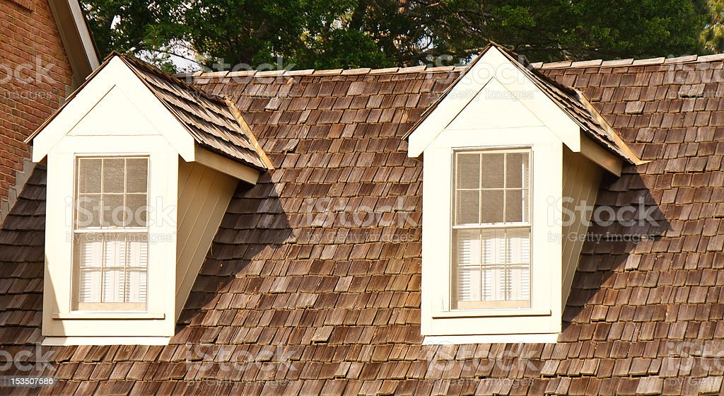 Two Dormers On Wood Shaker Roof Stock Photo - Download Image ...