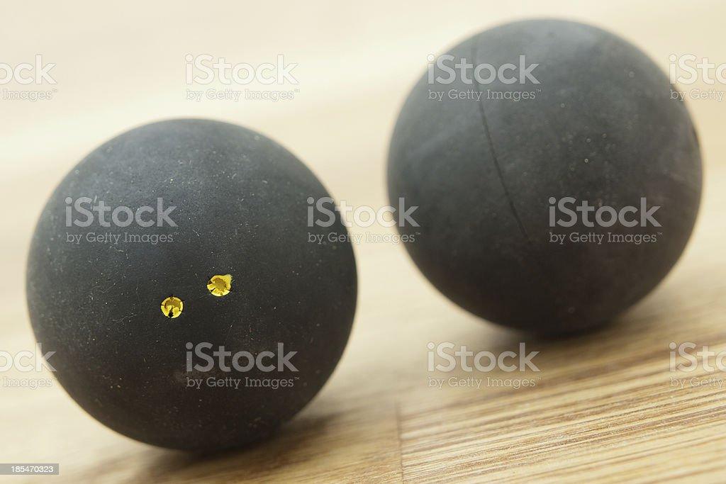 Two double yellow dot squash balls. royalty-free stock photo
