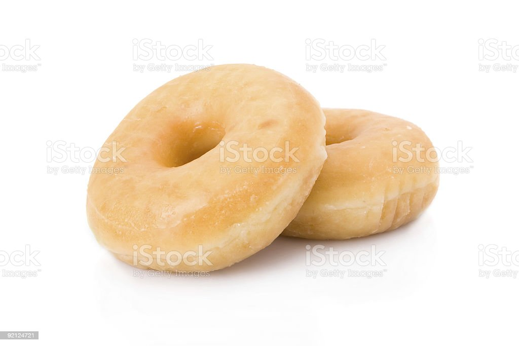 two doughnuts or donuts isolated on white stock photo