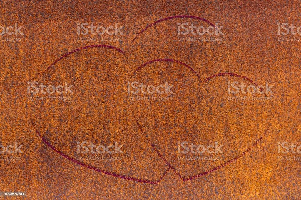 Two Drawn Hearts On Oxide Surface Closeup Rust Metallic