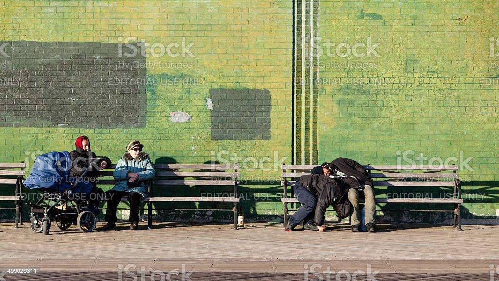 Two drunk man at the Brighton Beach stock photo