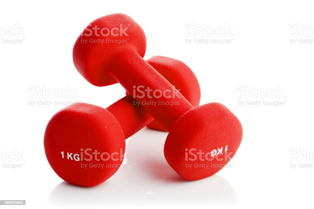 Two dumbbells on a white background royalty-free stock photo