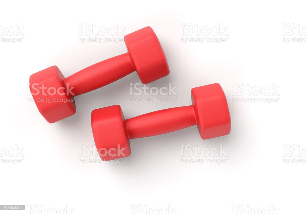 Two dumbbells on white stock photo