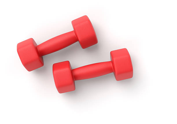 two dumbbells on white - weights stock photos and pictures