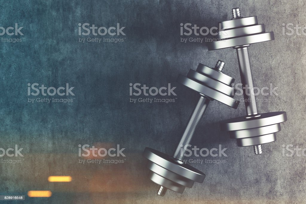 Two dumbbells top view toned stock photo