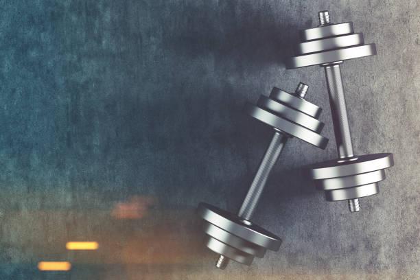 2 つのダンベル平面図トーン - ウエイトトレーニング ストックフォトと画像
