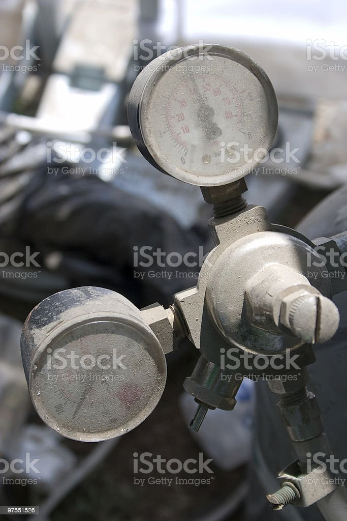 Two dusty manometers royalty-free stock photo