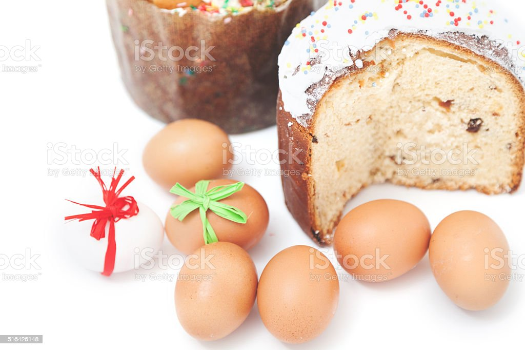 Two Easter and eggs on white background stock photo