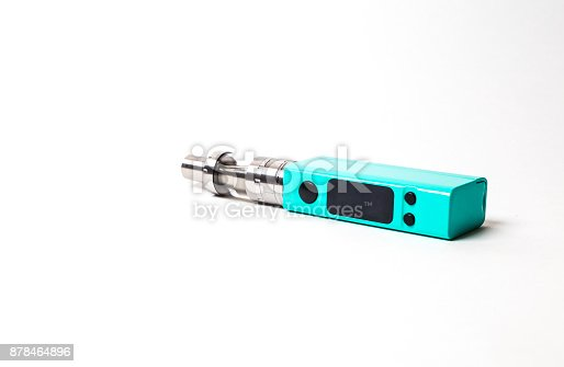 864217444 istock photo two e-cigarette (electronic cigarette, vape) isolated on the white background 878464896