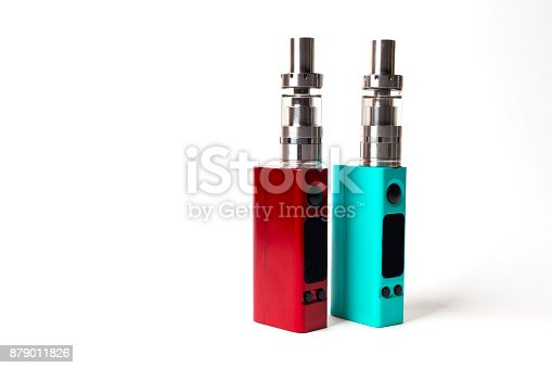 864217444 istock photo two e-cigarette (electronic cigarette, vape) isolated on the white background 879011826