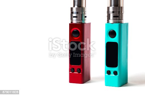 864217444 istock photo two e-cigarette (electronic cigarette, vape) isolated on the white background 879011828