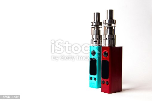 864217444 istock photo two e-cigarette (electronic cigarette, vape) isolated on the white background 879011842