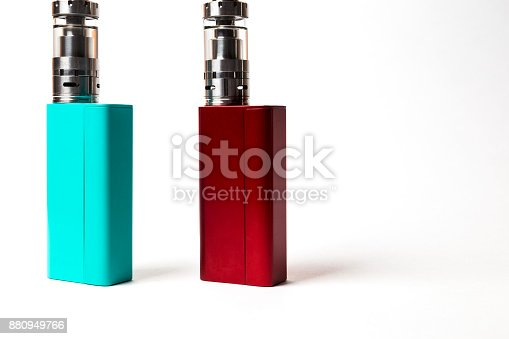 864217444 istock photo two e-cigarette (electronic cigarette, vape) isolated on the white background 880949766