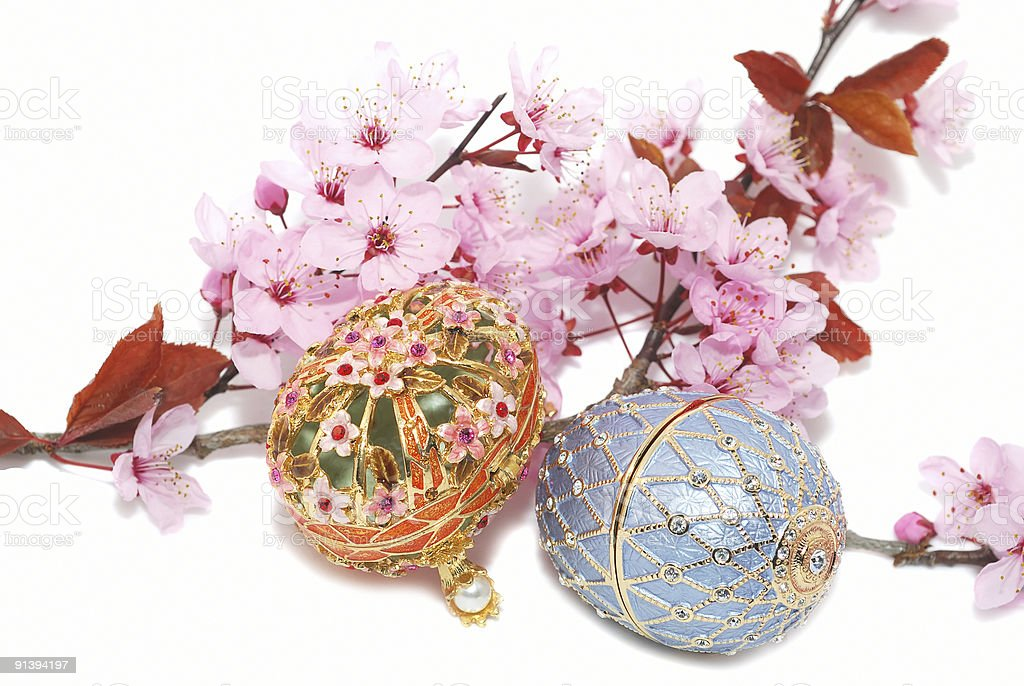 Two egg boxes for jewerely  and cherry blossom. royalty-free stock photo