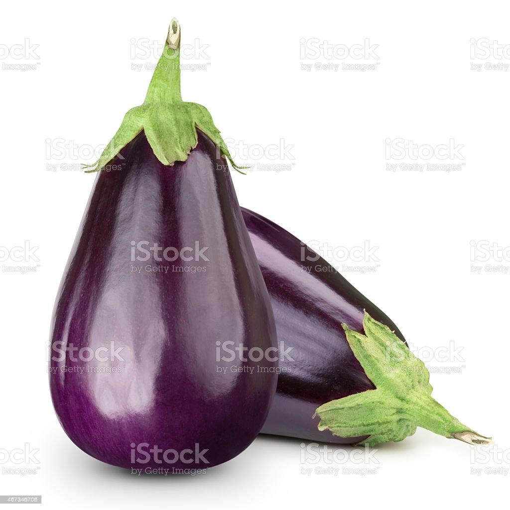 Two eggplants on white background stock photo