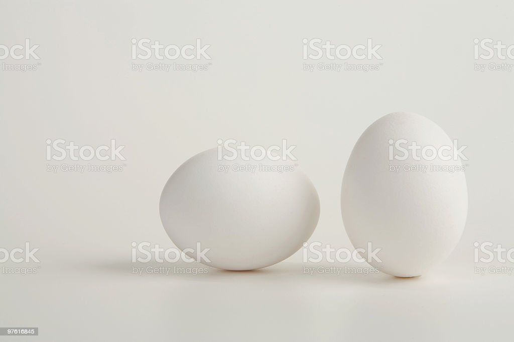 Two Eggs on a White Background royaltyfri bildbanksbilder