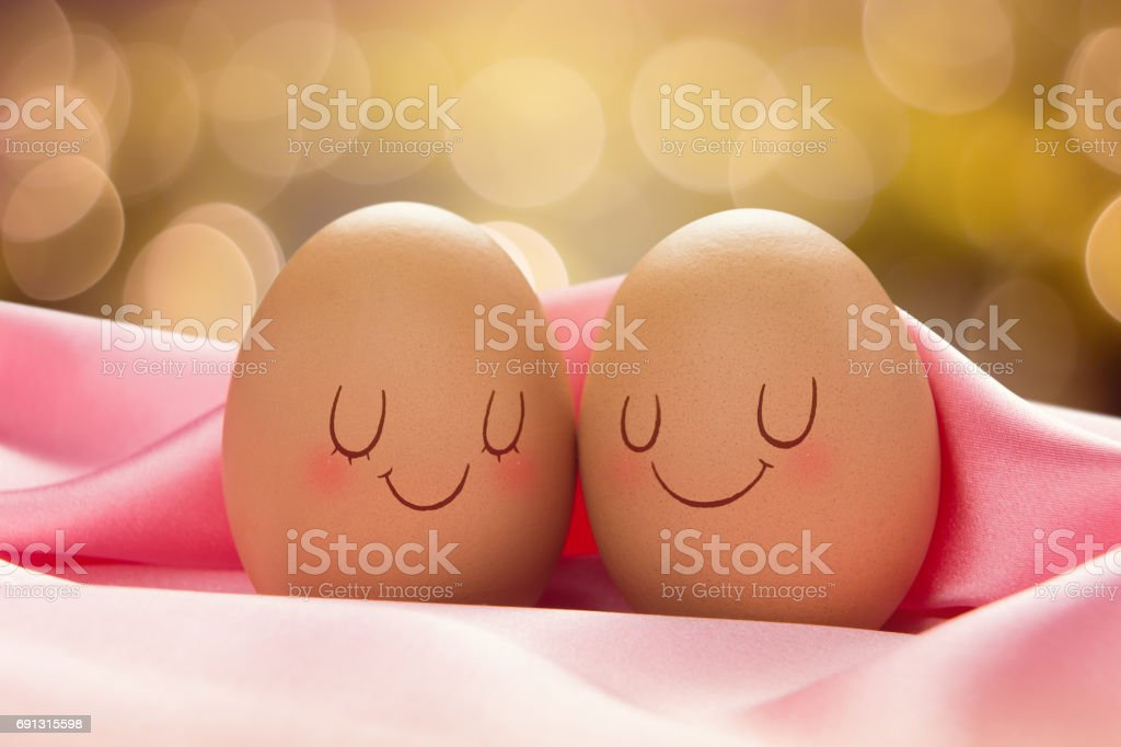 Two Eggs with love for each other, Valentine Day Or Wedding Day Concept stock photo