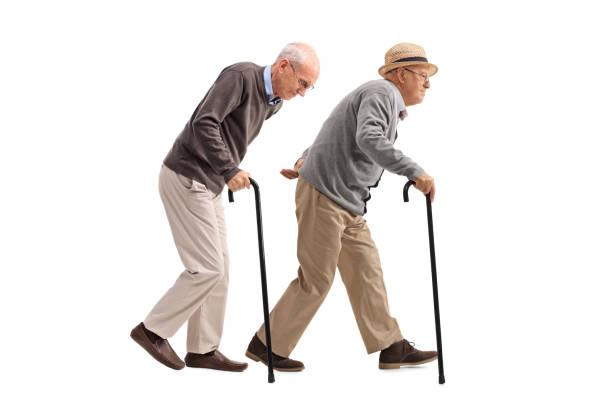 Dos ancianos con bastones de caminar - foto de stock
