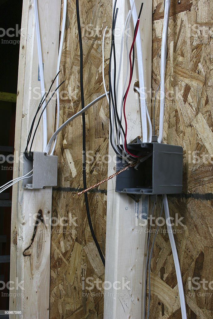 Two electrical switch boxes in new construction royalty-free stock photo