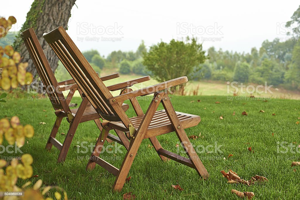 Two empty deck chairs. royalty-free stock photo