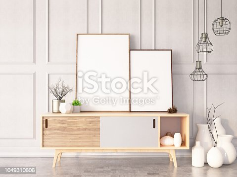 istock Two Empty Frames in Living Room 1049310606