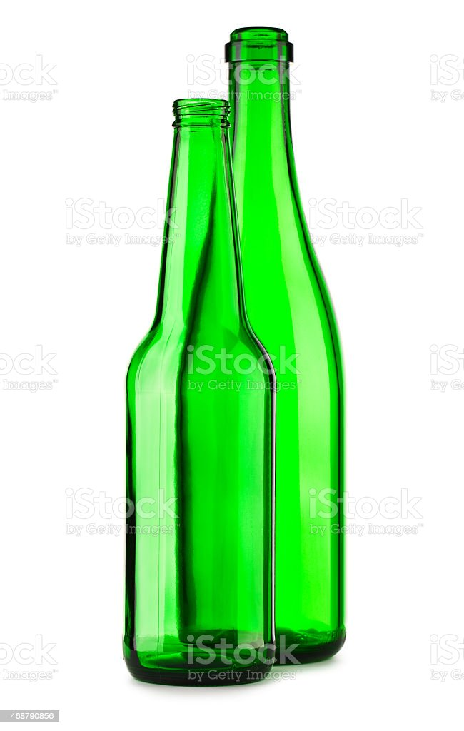 two empty green bottle isolated stock photo
