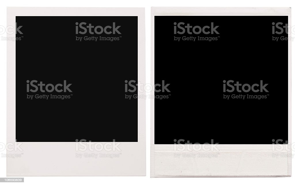 Two empty Polaroid frames on a white background royalty-free stock photo