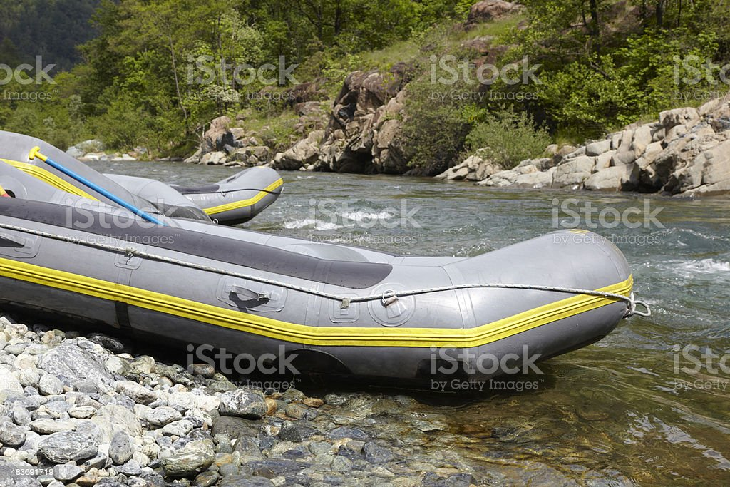 two empty rafts stock photo