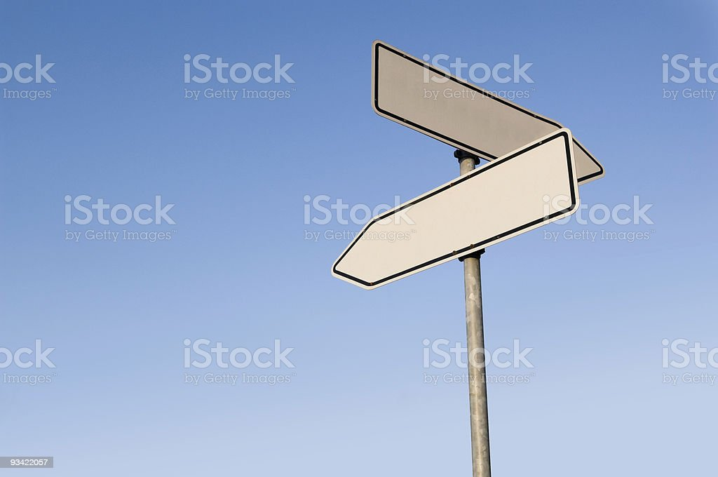 Two Empty Road Signs stock photo