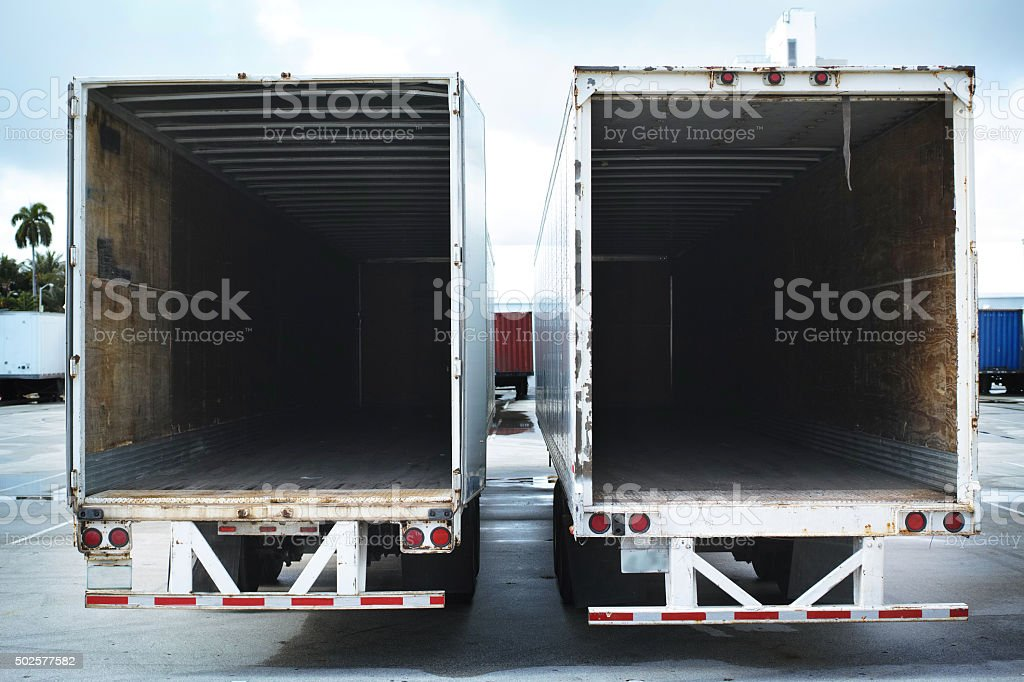 Two Empty Semi Truck stock photo